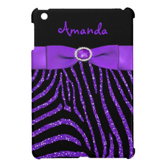 PRINTED RIBBON Purple Glitter Zebra iPad Mini Case