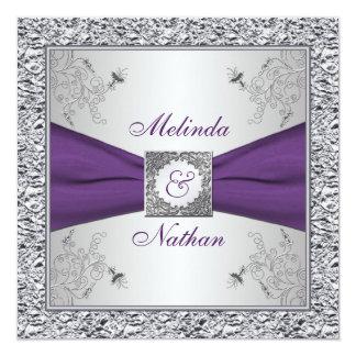 """PRINTED RIBBON Purple Silver Wedding Invitation II 5.25"""" Square Invitation Card"""