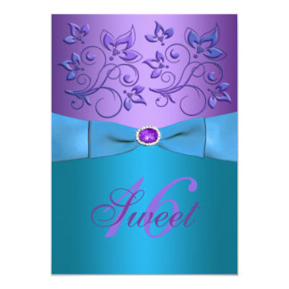 PRINTED RIBBON Purple, Turquoise Floral Sweet 16 13 Cm X 18 Cm Invitation Card