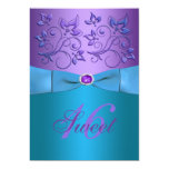 PRINTED RIBBON Purple, Turquoise Floral Sweet 16 13 Cm X 18 Cm Invitation Card
