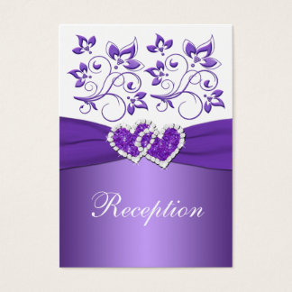 PRINTED RIBBON Purple White Floral Enclosure Card