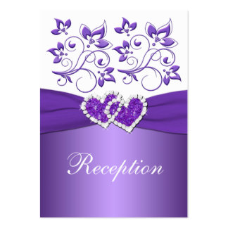 PRINTED RIBBON Purple White Floral Enclosure Card Pack Of Chubby Business Cards