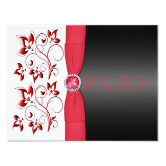 PRINTED RIBBON Red, Black, White Floral RSVP Card 11 Cm X 14 Cm Invitation Card