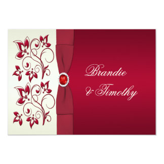 PRINTED RIBBON Red, Ivory Floral Wedding Invit Personalized Invites