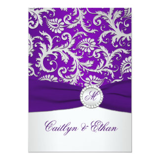 PRINTED RIBBON Royal Purple and Silver Damask 13 Cm X 18 Cm Invitation Card