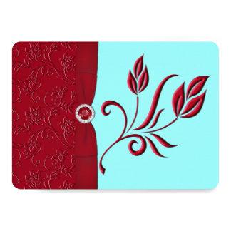 PRINTED RIBBON Ruby Red & Aqua Wedding Invite