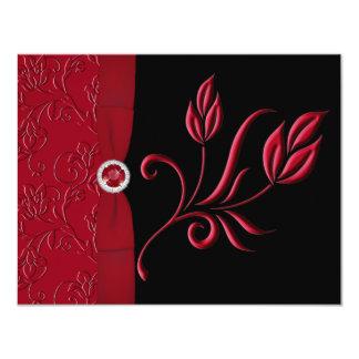 PRINTED RIBBON Ruby Red, Black RSVP Card 11 Cm X 14 Cm Invitation Card
