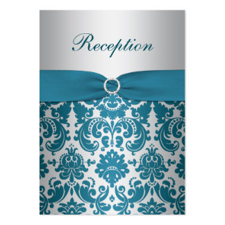 PRINTED RIBBON Silver, Teal Damask Enclosure Card Pack Of Chubby Business Cards