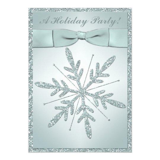 PRINTED RIBBON Snowflake Holiday Party Invitation