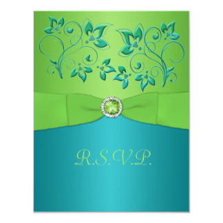 PRINTED RIBBON Turquoise, Lime Floral RSVP Card 11 Cm X 14 Cm Invitation Card