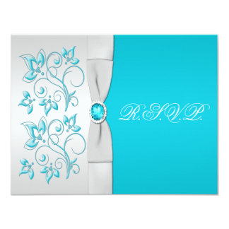 PRINTED RIBBON Turquoise, Silver Floral RSVP Card 11 Cm X 14 Cm Invitation Card