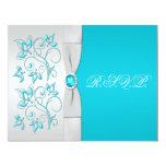 PRINTED RIBBON Turquoise, Silver Floral RSVP Card Personalised Invitations