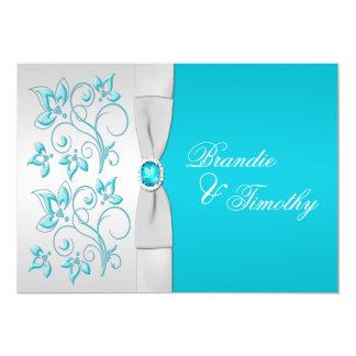 PRINTED RIBBON Turquoise, Silver Floral Wedding 13 Cm X 18 Cm Invitation Card