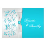 PRINTED RIBBON Turquoise, Silver Floral Wedding Personalized Announcement