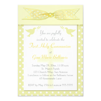 PRINTED RIBBON Yellow 1st Holy Communion Invite