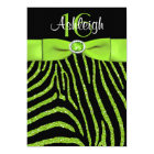 PRINTED RIBBON Zebra 16th Birthday Invitation