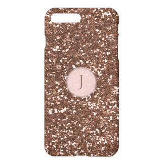 Printed Rose Gold Sparkly Glitter Monogram iPhone 7 Plus Case