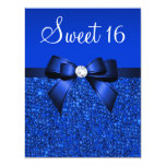 Printed Royal Blue Sequins, Bow & Diamond Sweet 16 Personalized Invitation