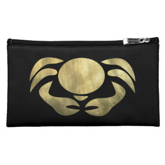 Printed Rustic Gold Cancer Crab Cosmetic Bag