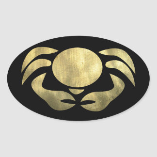 Printed Rustic Gold Cancer Crab Oval Sticker