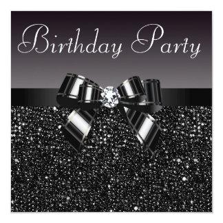 Printed Sequins, Bow & Diamond  Birthday Party 13 Cm X 13 Cm Square Invitation Card