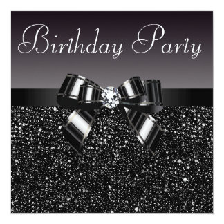 Printed Sequins, Bow & Diamond  Birthday Party Card