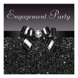 Printed Sequins, Bow & Diamond Engagement Party Personalized Invites