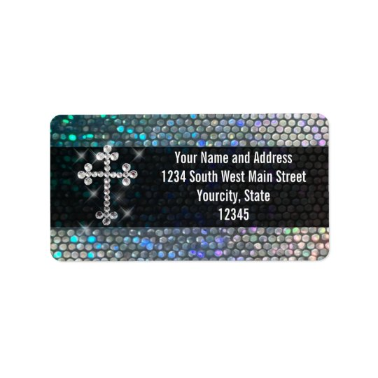Printed Silver Bling Cross Address Label