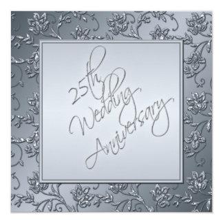 PRINTED Silver Glitter 25th Anniversary Invitation
