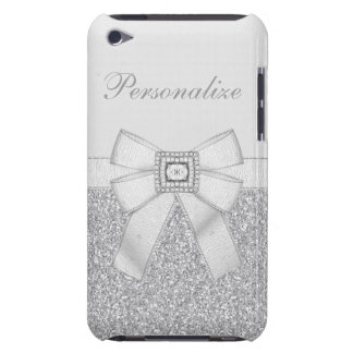Printed Silver Glitter, Diamond Bling & Bow iPod Touch Covers