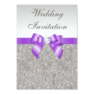 Printed Silver Sequins and Lavender Bow Wedding Card