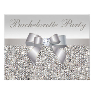 Printed Silver Sequins Bow Diamond Bachelorette Custom Invite