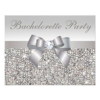 Printed Silver Sequins, Bow & Diamond Bachelorette Custom Invite