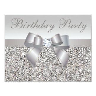 Printed Silver Sequins, Bow & Diamond Birthday 11 Cm X 14 Cm Invitation Card
