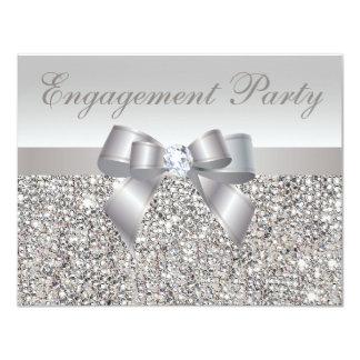 Printed Silver Sequins, Bow & Diamond Engagement 11 Cm X 14 Cm Invitation Card