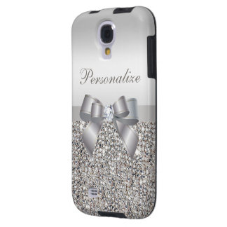 Printed Silver Sequins, Bow & Diamond Image Galaxy S4 Case