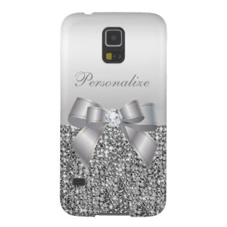Printed Silver Sequins, Bow & Diamond Image Galaxy S5 Cases