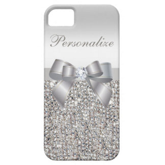 Printed Silver Sequins, Bow & Diamond iPhone 5 Case
