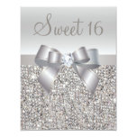Printed Silver Sequins, Bow & Diamond Sweet 16 11 Cm X 14 Cm Invitation Card
