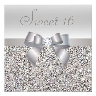 Printed Silver Sequins Bow Diamond Sweet 16 Personalized Invitations