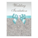 Printed Silver Sequins Diamonds Teal Bow Wedding Personalized Announcement