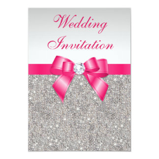 Printed Silver Sequins Hot Pink Bow Wedding Card