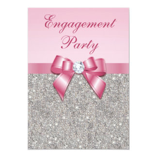 Printed Silver Sequins Pink Bow Engagement Party Card