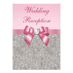 Printed Silver Sequins Pink Bow Wedding Reception