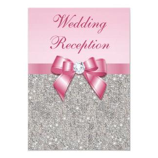 Printed Silver Sequins Pink Bow Wedding Reception 13 Cm X 18 Cm Invitation Card
