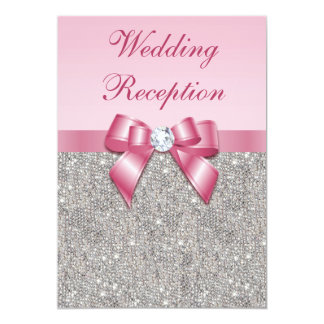 Printed Silver Sequins Pink Bow Wedding Reception Card