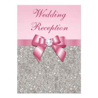Printed Silver Sequins Pink Bow Wedding Reception Announcement