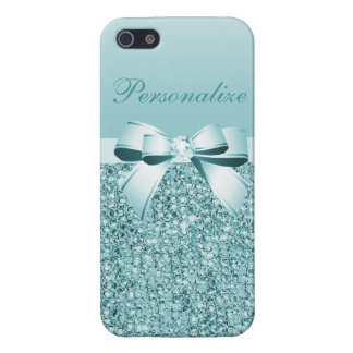 Printed Teal Blue Sequins, Bow & Diamond Case For iPhone 5/5S