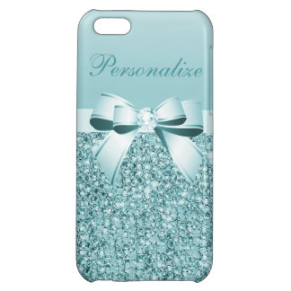 Printed Teal Blue Sequins, Bow & Diamond Case For iPhone 5C