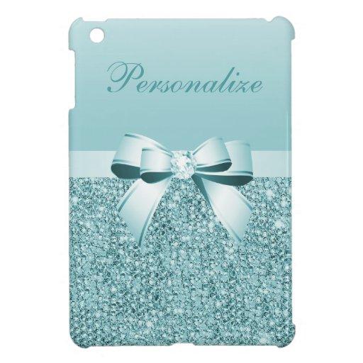 Printed Teal Blue Sequins, Bow & Diamond iPad Mini Case